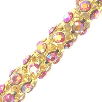 7mm Red AB rhinestone gold colour reticulated chain -- 1meter